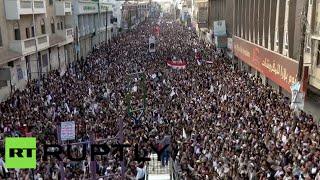 Massive crowd in Sanaa protest Saudi strikes in Yemen