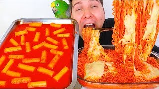 THE BEST SPICY CHEESY RICE CAKES WITH SPICY CHEESY RAMEN NOODLES • Mukbang & Recipe