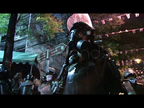 Riot Police Confront Protest Demonstration Control Law Force, Bangkok 2010. Stock Footage