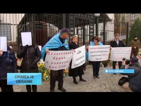 Crimea is Ukraine: Crimean Tatars protest outside Russian embassy in Kyiv
