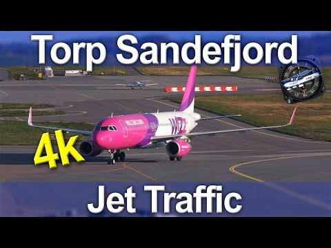 Torp Sandefjord Airport Jet Traffic plane-spotting, here I have two Wizzair 320's and a Ryanair 737-800 I rendered this video in 80mbps instead of a lower bitrate (I'm still learning the best...