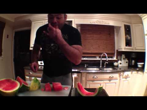 The UFC Fighter Gabriel gonzaga from Marlborough ma BJJ show how to pill off a skin from watermelon Image 1