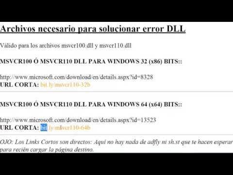 Solución al error Falta Msvcr100.dll y Msvcr110.dll - Librería DLL Oficial Windows 32 y 64 bits