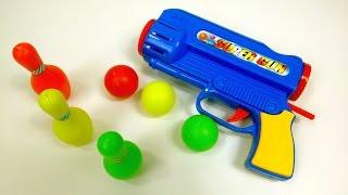 Most Amazing Toy Gun! Skittle Blaster Toy Gun Review | Fun Bowling Pin Set Kids Toys
