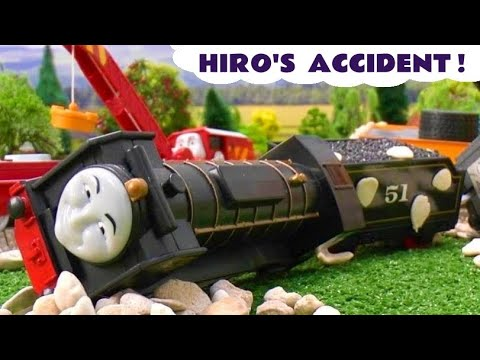 Thomas and Friends Peppa Pig Play Doh Story Hiro's Accident Crash Thomas Tank Playdough Grandad Dog