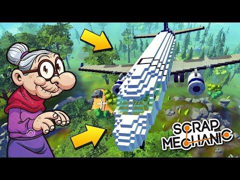 БАБКИ УЧАТСЯ ЛЕТАТЬ НА ОГРОМНОМ САМОЛЁТЕ !!! МУЛЬТИК в Scrap Mechanic !!!