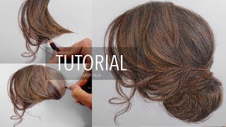 Tutorial | How to draw color a brown hair updo with colored pencils | Emmy Kalia