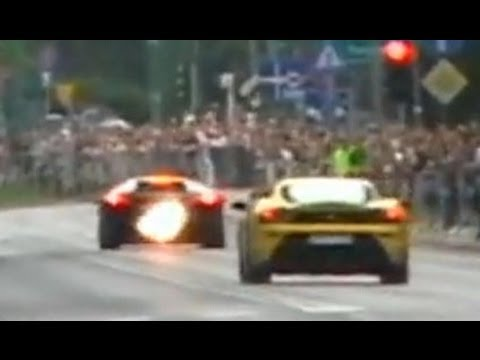 Supercars on the street at GTPolonia - lovely sounds fire burnouts drifts PART II