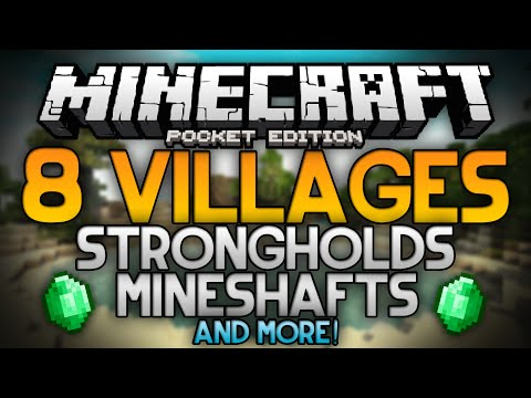 THE BEST SEED FOR MINECRAFT POCKET EDITION!!! - 8 Villages, Mineshafts, a Stronghold, and More!