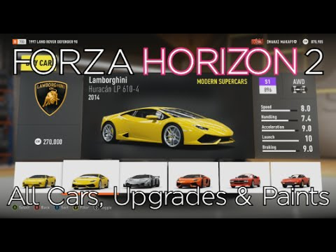 Forza Horizon 2 - All Cars, Upgrades & Paint Options (Customization)