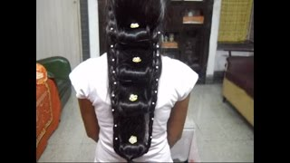 A very Unique and Creative hair style. 'Ladder'/ Rolls Choti.