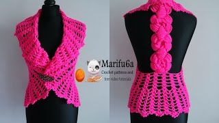 how to crochet vest bolero jacket with roses chaleco free pattern tutorial by marifu6a