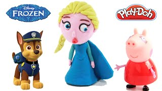 Peppa Pig Español Mickey Mouse Paw Patrol Play Doh Surprise Eggs Toys Frozen Elsa Stop Motion Slime