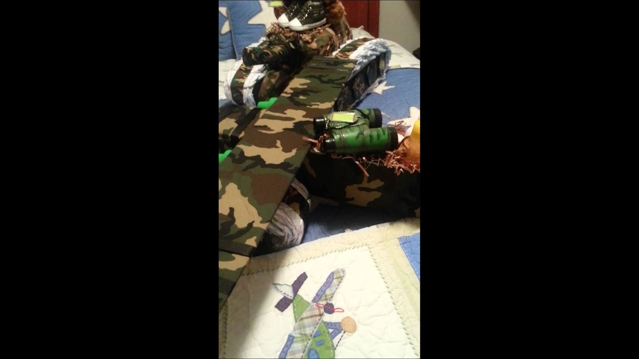 Camo Army Tank Diaper Cake And Camo Airplane Youtube