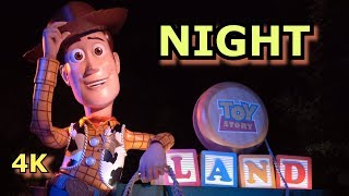 NIGHT in Toy Story Land - including Slinky Dog Coaster & Alien Swirling Saucers - 4K