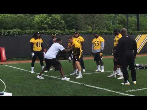 James Harrison Coaches Up T J Watt Pittsburgh Steelers Olbs