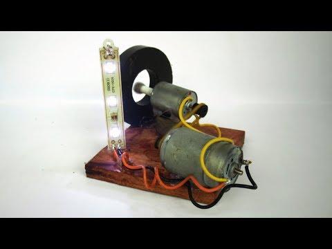Science DIY Free energy generator DC motor experiments Test on light bulb LED - Work 100% thumbnail