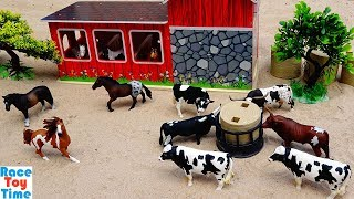 Cattle and Horses Farm Animals Toys in the Sandbox For Kids