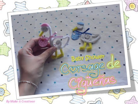 Baby Shower] Corsage de Cigueñas - YouTube