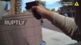 USA: Bodycam captures Las Vegas police officer shooting at suspects through windshield