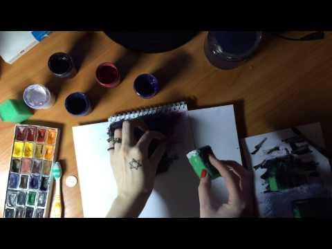 Видео как нарисовать космос гуашью