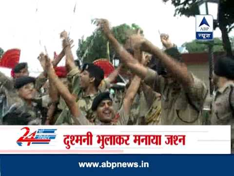 BSF soldiers celebrate I-Day at Attari border with Pak rangers