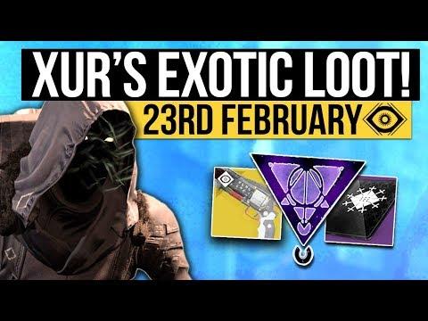 Destiny 2   XUR LOCATION & DLC EXOTICS! - Exotic Weapon, Armor Inventory & More! (23rd February)