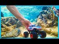 Captain America Monster Truck Underwater - Fish Eating Fish!