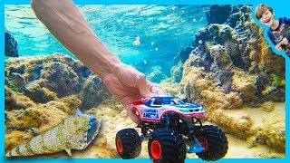 Captain America Monster Truck Underwater - Fish Eating Fish!