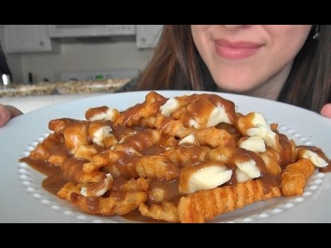 ASMR: Poutine (Fries Gravy Cheese Curds) | Coffee Crisp | Canadian Food | Eating Sounds