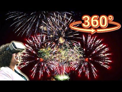 Панорамное Видео 360 VR 4K для очков виртуальной реальности. Салют на день города Парк Горького
