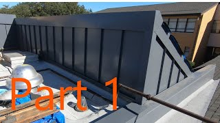 Making and installing expansion cap metal and Charcoal Grey Standing seam wall panels (part 1)
