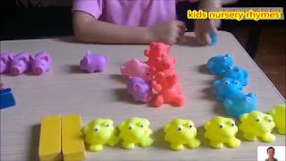 Learning Animals, Colors and Counting For Children  Three little pigs story with rubber pigs toys