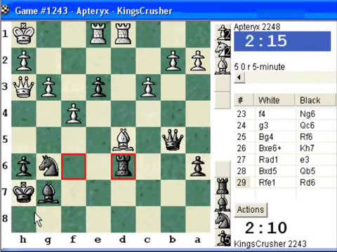 Chessworld.net : Blitz #241 vs. Apteryx (2248) - Sicilian Defense : Sveshnikov variation (B33)
