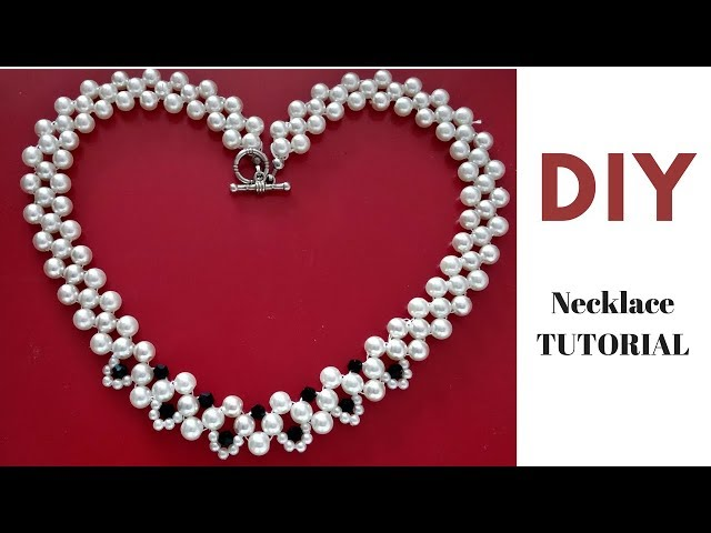 Necklace tutorial.  Easy beading - Pearl Necklace DIY