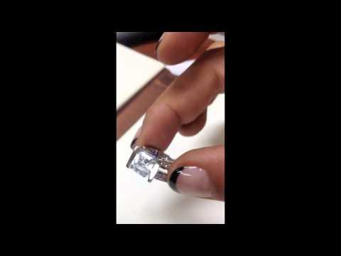 Astonishing  Diamond Quality Asscher Cut Cubic Zirconia Engagement Ring