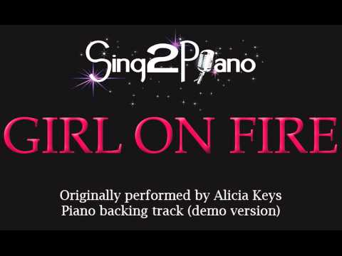 Girl On Fire - Alicia Keys (piano Backing Track) Karaoke video