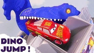 Hot Wheels T-Rex Dino Attack Race with Cars 3 McQueen and Marvel Avengers 4 superhero cars TT4U
