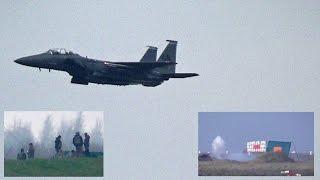Caças a Jato F-15 disparando Canhão M-61 Vulcan Gatling