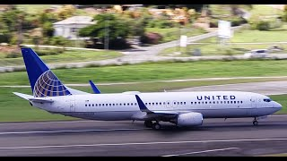 United Airlines Boeing 737-800 Pushback, Taxi and Takeoff from V.C Bird International [HD]