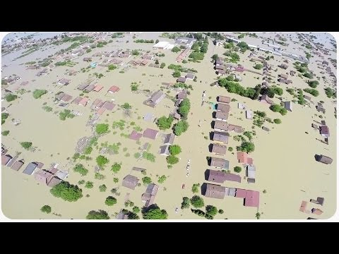 Balkans Flooding Disaster Seen from Drone Quadcopter