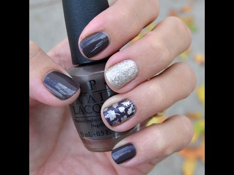 Fall leaves nail tutorial (brown and gold)