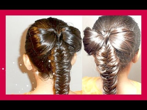Hair Bow With Fishtail Braid Tutorial * Mono con Trenza de Espiga/Cola de Pescado