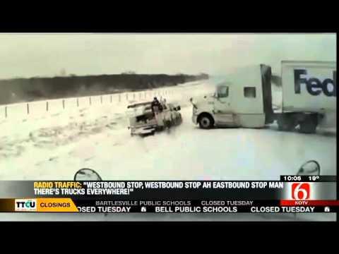 FedEx Semi Crash in Tulsa Oklahoma - Dash Cam 12-06-2013