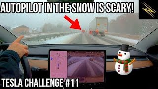Can Autopilot Drive Me Through a Snow Storm? | TESLA CHALLENGE #11 | Winter | Full Self Driving |