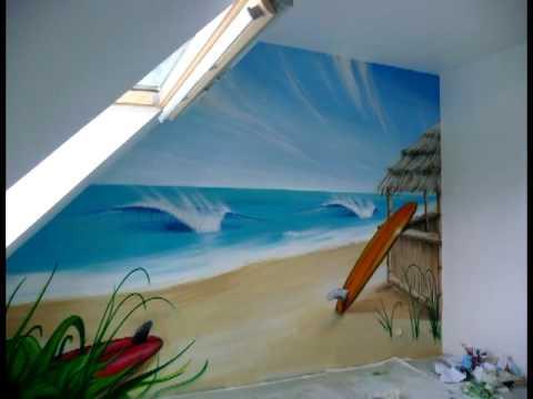 A rosoleil decoration graff surf chambre d 39 enfant youtube - Deco chambre d enfant ...