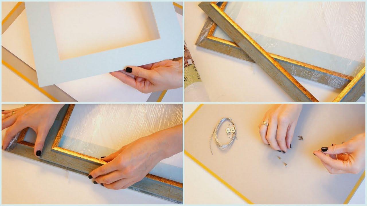 Как самостоятельно вставить вышивку в рамку 23