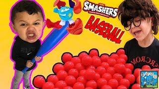 BOY TAKES SWING AT SMASHERS BALL! BASEBALL PRACTICE! THE NEW TOY SALESMAN! DINGLE HOPPERZ SKIT