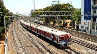 Colorful Mumbai local Trains of indian railways near churchgate / Trains of India video HD