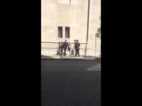 Bernadette Peters and Kyle Maclachlan leaving Joan Rivers' funeral